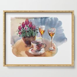 Romantic meeting. Round table of a street cafe with a cup of coffee, liqueur and flowers in a pot  Serving Tray