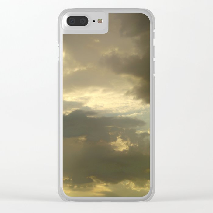 Grey tan stormy clouds in the middle of nowhere Clear iPhone Case