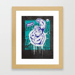 Mayhem Ape (Teal on Gun Metal) Framed Art Print