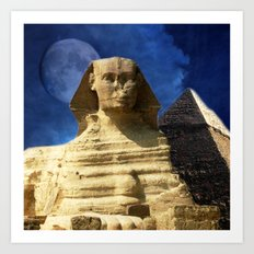 Sphinx  and Pyramid Art Print