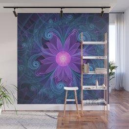Blown Glass Flower of an ElectricBlue Fractal Iris Wall Mural