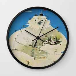 Vintage Adelboden Switzerland Travel Poster - Snowman Wall Clock