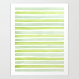 Green and White Watercolour Stripes Painted Pattern Art Print