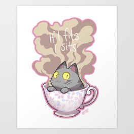 Cat in a cup Art Print