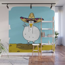 Eglantine la poule (the hen) with a mexican hat Wall Mural