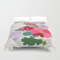 flora Duvet Covers featuring Flora by bethania lima designs
