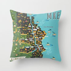 Mapping  Milwaukee Throw Pillow