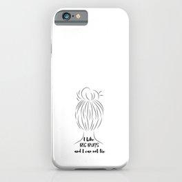 Hand drawn line art of women silhouette with hair bun iPhone Case