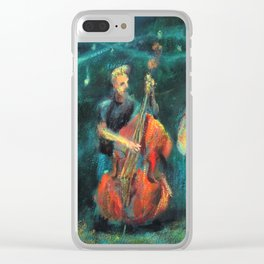 Singer and double bass jazz musicians at night Clear iPhone Case