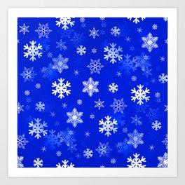 Light Blue Snowflakes Art Print