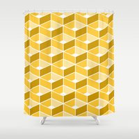 yellow pattern Shower Curtains featuring Simple Pattern Yellow by DONIKA NIKOVA - Art & Design