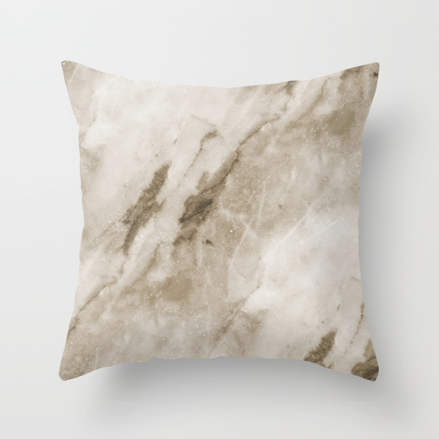 Classic Brown White Marble Rock Real Stone Throw Pillow By Colorflowcreations Society6