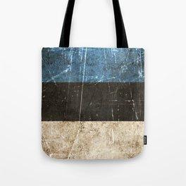 Vintage Aged and Scratched Estonian Flag Tote Bag