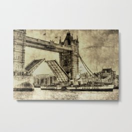 Tower Bridge Vintage Metal Print