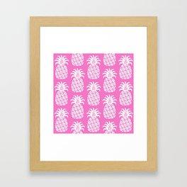 Retro Mid Century Modern Pineapple Pattern Pink 2 Framed Art Print