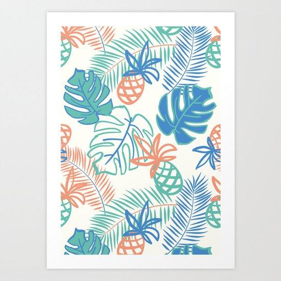 Pineapple pattern. Tropical foliage Art Print