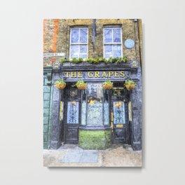 The Grapes Pub London Art Metal Print
