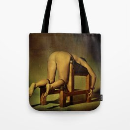 Tied on the whipping bench - Nude woman in bondage Tote Bag