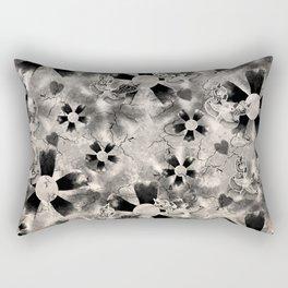 Flower Clown Pattern in Black Rectangular Pillow