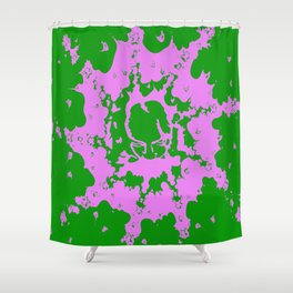 Abstract Pink and Green Face Shower Curtain