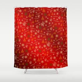 red Merry christmas text in gold, beautiful reindeer, green fir trees, bright stars festive, elegant Shower Curtain