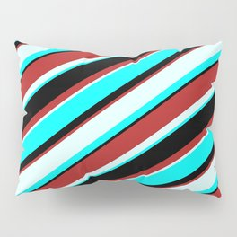 Red, Light Cyan, Cyan, and Black Colored Striped Pattern Pillow Sham