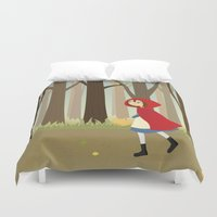 red riding hood Duvet Covers featuring Red Riding Hood by Sara Showalter