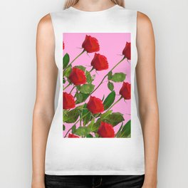 RED LONG STEMMED ROSES ON PINK Biker Tank