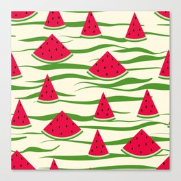 Juicy slices of watermelon Canvas Print