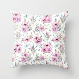 Mauve pink lilac green watercolor cactus roses floral Throw Pillow