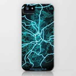 Huddersfield, England, Blue, White, Neon, Glow, City, Map iPhone Case