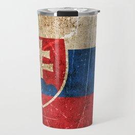 Vintage Aged and Scratched Slovakian Flag Travel Mug