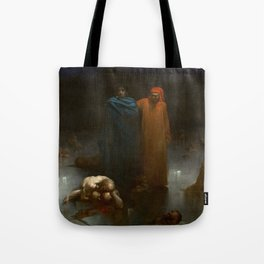 Gustave Doré - Dante And Virgil In The Ninth Circle Of Hell Tote Bag