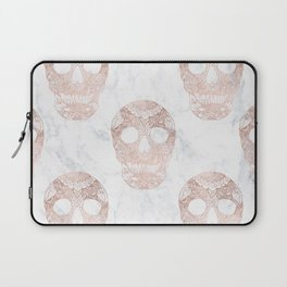 Modern hand drawn floral lace rose gold skulls on white marble Laptop Sleeve