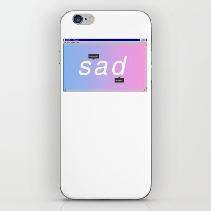 Sad Aesthetic Vaporwave Gift Notepad Window Emotional design iPhone Skin