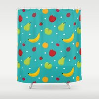 fruits Shower Curtains featuring fruits by Irina Novikova