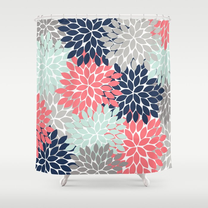 Flower Burst Petals Floral Pattern Navy Coral Mint Gray Shower Curtain