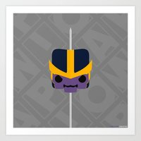 thanos Art Prints featuring Marshmallow Thanos by Oblivion Creative