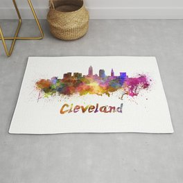 Cleveland skyline in watercolor Rug
