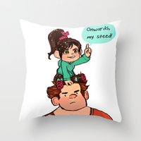 wreck it ralph Throw Pillows featuring Vanellope and Ralph by Hattie Hedgehog