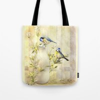 tits Tote Bags featuring English Blue Tits by Trudi Simmonds