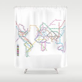 World Metro Subway Map Shower Curtain