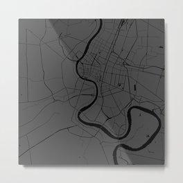 Bangkok Thailand Minimal Street Map - Gray and Black Metal Print