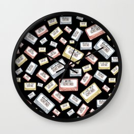 Primary Mixtapes on Black  Wall Clock