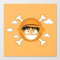 luffy Canvas Prints featuring Captain Monkey D. Luffy by ARI RIZKI