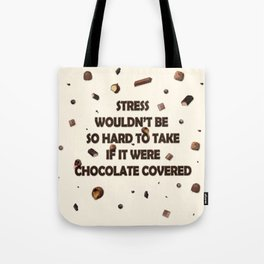 Falling chocolates with cream background Tote Bag