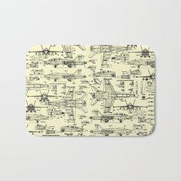 F-18 Blueprints // Parchment Bath Mat