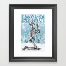 PRAY FOR SNOW (PRAYING SKELETON) Framed Art Print