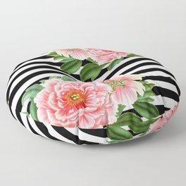 Pink Peonies Black Stripes Floor Pillow
