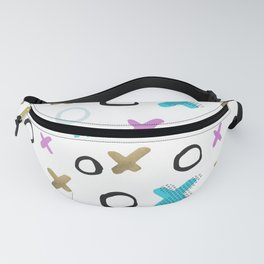 Geometrical abstract pink teal gold crosses circles pattern Fanny Pack